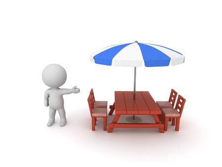 3D Character showing a patio with umbrella. 3D Rendering isolated on white