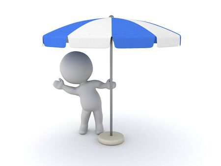 3D Character waving from behind terrace umbrella. 3D Rendering isolated on white.