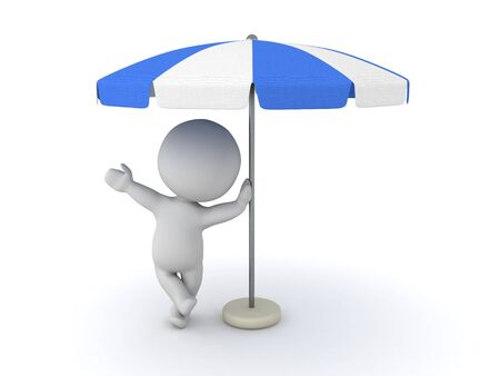 3D Character leaning on terrace umbrella. 3D Rendering isolated on white. Table