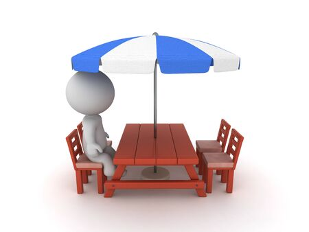 3D Character sitting on patio chair. 3D Rendering isolated on white.