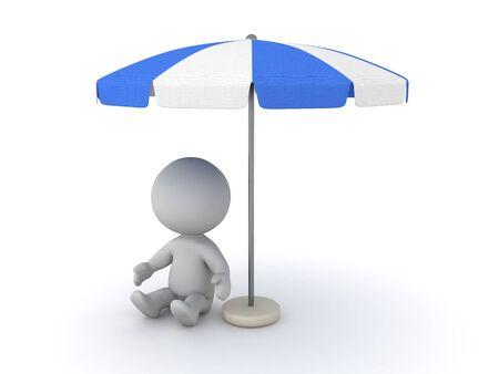 3D Character sitting under terrace umbrella. 3D Rendering isolated on white. Standard-Bild
