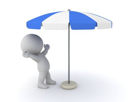3D Character looking excited at terrace umbrella. 3D Rendering isolated on white.