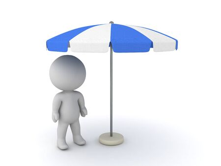3D Character standing under terrace umbrella. 3D Rendering isolated on white.