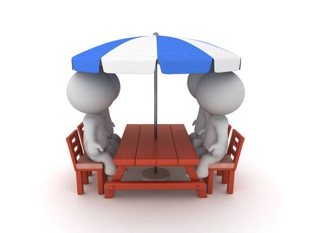 3D Characters sitting on patio chairs. 3D Rendering isolated on white.