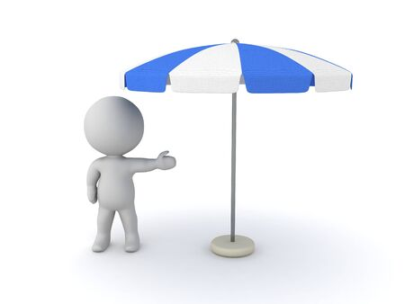 3D Character showing terrace umbrella. 3D Rendering isolated on white.