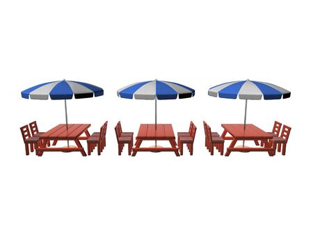 3D Rendering of three patios. 3D Rendering isolated on white. Standard-Bild