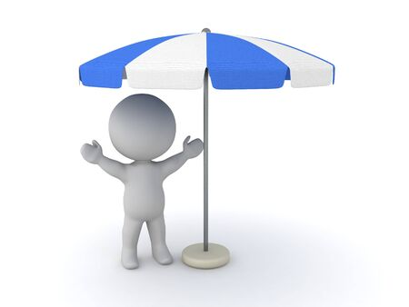Happy 3D Character under terrace umbrella. 3D Rendering isolated on white.