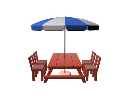 3D Rendering of patio with umbrella. 3D Rendering isolated on white.