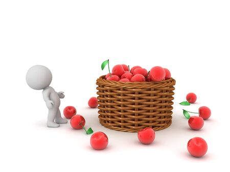 3D Character looking up at cherry basket. 3D Rendering isolated on white.