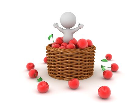 Happy 3D Character in cherry basket. 3D Rendering isolated on white.
