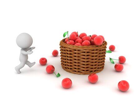 3D Character running towards basket full of cherries. 3D Rendering isolated on white. Standard-Bild