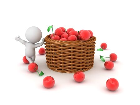 3D Character leaning on basket full of cherries. 3D Rendering isolated on white.