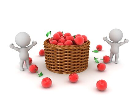 Happy 3D Characters next to basket full of cherries. 3D Rendering isolated on white.  Standard-Bild