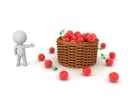 3D Character showing a basket full of cherries. 3D Rendering isolated on white. Standard-Bild