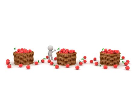 3D Character and three cherry baskets. 3D Rendering isolated on white. Standard-Bild