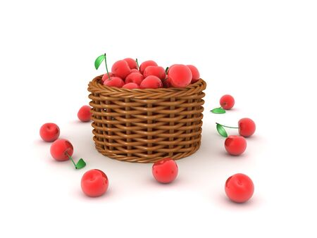 3D Rendering of basket of cherries. 3D Rendering isolated on white.