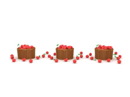 3D Rendering of three cherry baskets. 3D Rendering isolated on white.