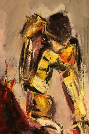 modern fighter: dettaglio della pittura di Luciano Bistreanu