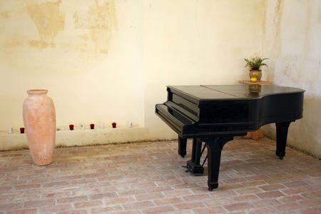 Old piano room in the Bontida ruins castle.