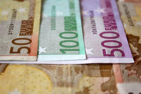 Texture of mix euro bills.