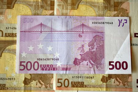 Close up of 500 hundred euro banknote.