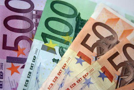 Close up of euro banknotes money.