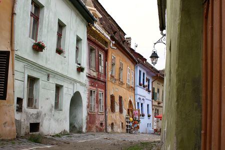 medieval blacksmith: Street from old part of Sighisoara medieval city.