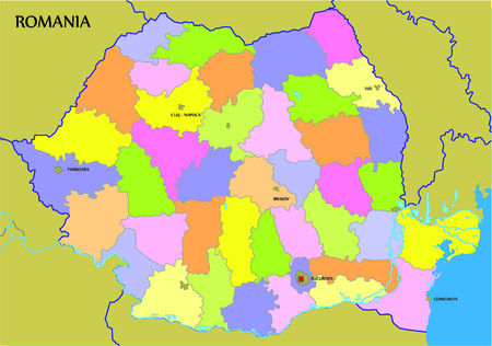 Romanian map representation in this graphic illustration. Vector