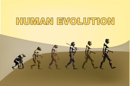 Human evolution representation in this graphic illustration.