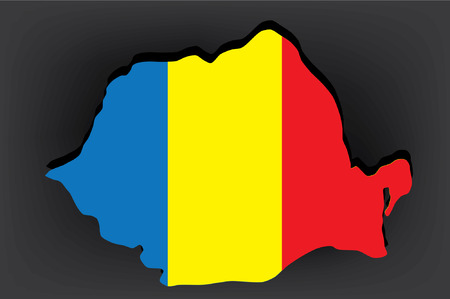 romanian: Romanian map with national flag on top