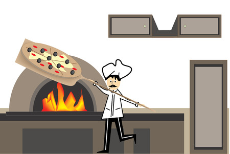 baked: Vector illustration of a chef baker in front of kiln