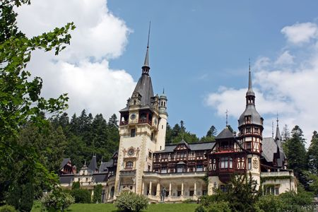Public yard of Peles castle from Sinaia