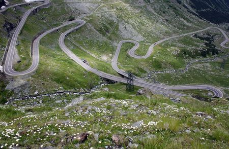 Curved road from Transfagarasan valley