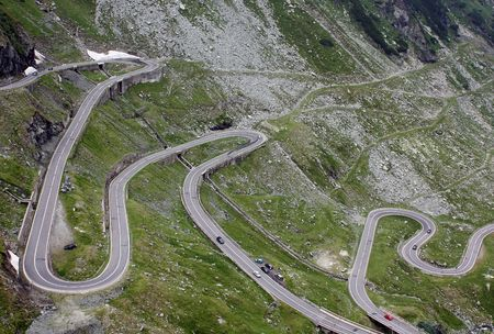 View with riscky road of Transfagarasan photo