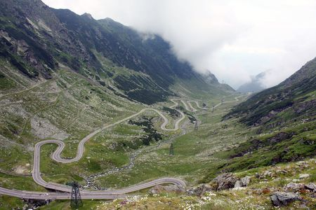 tortuous: Mountain landscape with difficult road of Transfagarasan Stock Photo