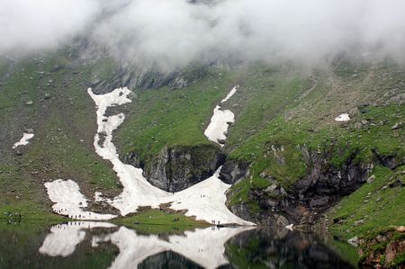 Balea Lake, a glacial lake in Romania photo