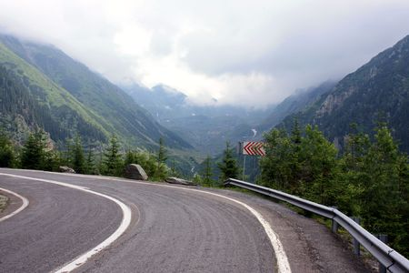 Dangerous curve of road from Transfagarasan