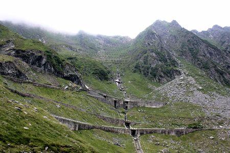 erratic: View of Transfagarsan road from Fagaras mountains Stock Photo