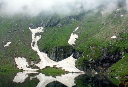 Beautiful view of Balea lake from Transylvania photo