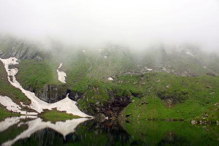 Beautiful view of Balea lake from Romania photo