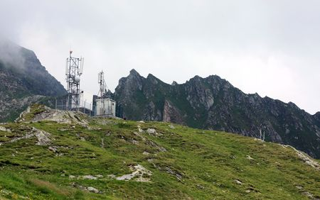 Landscape with meteo station from Balea Lake in Romania photo