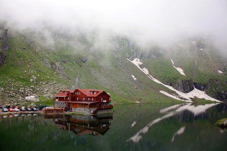 Balea lake from Carpathian mountains photo