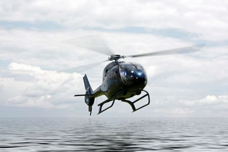 Helicopter fly over the rendered water Stock Photo
