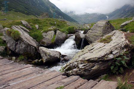 Bridge over the mountain river from Transfagarasan