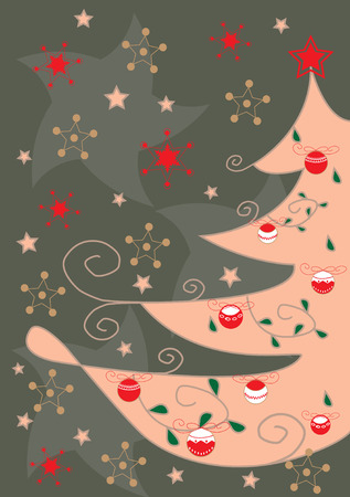 Greeting card with artistic Christmas tree
