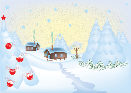 Winter greeting card with a little village