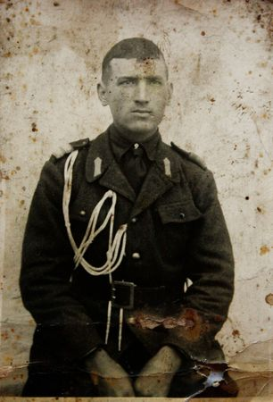 Monochrome old foto of an young soldier