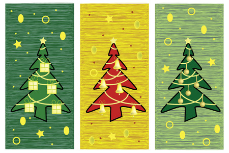 Greeting card with artistic Christmas trees Illustration