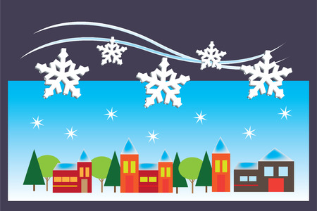 Greeting card with small town in winter time Illustration