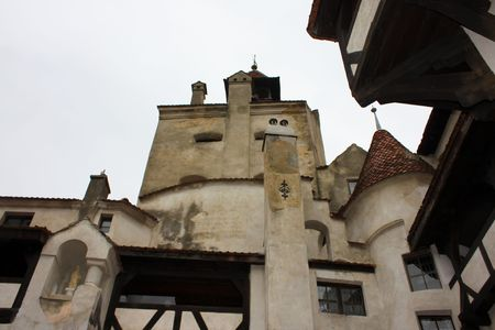 Public yard of Bran castle from Transylvania photo